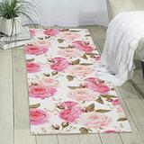 Floral Flower Rose Pink Printed Area Rug Hallway Runner Rug Living Room Carpet Entry Rugs Bedroom Rugs 70 X 24 in