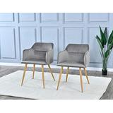 Dining Room Chairs Set of 2 - Upholstered Armchairs Accent Chairs for Living Room Arm Chairs, Comfortable Velvet Kitchen Dining Room Chairs with Metal Legs - (Gray)