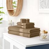 Red Barrel Studio® Degen 6 Piece Turkish Cotton Towel Set Turkish Cotton in Brown, Size 54.0 W x 28.0 D in   Wayfair