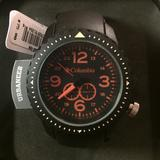 Columbia Accessories   Black Orange Unisex Watch, Plastic Black Pu Strap   Color: Black/Orange   Size: Os
