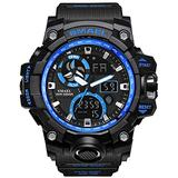 Men's Watches Digital Sports Outdoor Watch Dual Display Alarm Military Watches LED Backlight Large Dial Watch (Blue Watch)