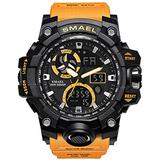 Men's Watches Digital Sports Outdoor Watch Dual Display Alarm Military Watches LED Backlight Large Dial Watch (Orange Watch)