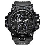 Men's Watches Digital Sports Outdoor Watch Dual Display Alarm Military Watches LED Backlight Large Dial Watch (Gray Black Watch)