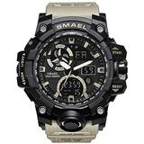 Men's Watches Digital Sports Outdoor Watch Dual Display Alarm Military Watches LED Backlight Large Dial Watch (Khaki Watch)
