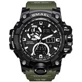 Men's Watches Digital Sports Outdoor Watch Dual Display Alarm Military Watches LED Backlight Large Dial Watch (Green Watch)