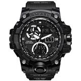 Men's Watches Digital Sports Outdoor Watch Dual Display Alarm Military Watches LED Backlight Large Dial Watch (Black Watch)