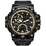 Men's Watches Digital Sports Outdoor Watch Dual Display Alarm Military Watches LED Backlight Large Dial Watch (Gold Watch)