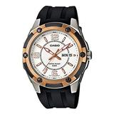 Casio MTP1327-7A1V Men's Black Resin Strap Day/Date Silver Dial Analog Watch