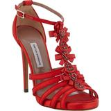 New $1295 Jewel-embellished T-strap Sandals It.38 - Us 8 - Red - Tabitha Simmons Heels