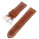 Watch Bands Cowhide Genuine Leather Wristwatch Straps Watch Parts Leather Watch Bands Straps For Men Women Watch Accessories 18mm 20mm 22mm 24mm 26mmBlack Brown (Light Brown & Silver Buckle, 20mm)