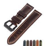 Watch Bands Cowhide Genuine Leather Wristwatch Straps Watch Parts Leather Watch Bands Straps For Men Women Watch Accessories 18mm 20mm 22mm 24mm 26mmBlack Brown (Dark Brown & Black Buckle, 24mm)