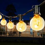 48Ft G40 LED String Lights with Shatterproof Clear Bulbs Backyard Patio Globe String Lights Waterproof Hanging String Lights for Bistro Market Cafe Gazebo Porch Party Decor Indoor Outdoor (48, 1 Pack)