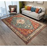Persian Area Rug, Persian Home Indoor Area Rug with Traditional Vintage Print Pattern, for Living Room Decor, Dining Room, Kitchen Rug, or Bedroom(1,100x200cm)