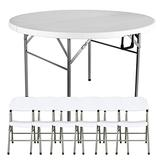 Outdoor Foldable Dining Table and Chair, Portable Camping Table with 6 Chairs, Outdoor Picnic Dining Table and Barbecue Table, Outdoor Terrace Garden Dining Table and Chair