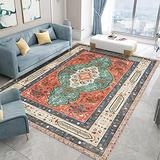 Persian Area Rug, Persian Home Indoor Area Rug with Traditional Vintage Print Pattern, for Living Room Decor, Dining Room, Kitchen Rug, or Bedroom(4,100x200cm)