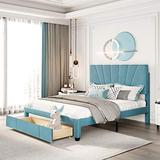 Queen Storage Bed , Upholstered Platform Bed with Headboard, Storage Bed Frame with Storage Drawers for Bedroom, No Box Spring Need, Blue