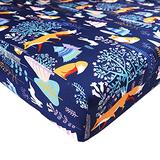 DILIMI Crib Sheet Fitted Crib Sheets for Baby Boys Girls, Ultra-Soft Cotton Blend Baby Sheet Fits Standard Crib and Toddler Mattress, Jungle Fox