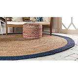 8x8 Feet Natural Color and Blue Border Round Rug, Round Jute mat , Round Jute Rug ,Braided Round Rug , Large Round Rug , Jute Rug , Table Side Round Rug ,Braided Area Rug, Vintage Area Rug