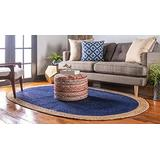 4x6 Feet Oval Rug Blue Color with Natural Border Oval Jute Rug,Hand Woven Braided Natural Jute Area Rugs for Home Decor Rug Oval Braided Rug,Door Mat Outdoor/Indoor,Jute Rug