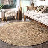 7x7 Feet Round Rug, Natural Round Jute Rug, Beautiful Handmade Round Floor Rug Round Carpet Meditation mat Hallway Rug RAG Rug Indoor-Outdoor Rugs cristmass Gift