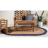 3X5 Feet Oval Rug, Blue Color with Natural Border Oval Jute Rug,Braided Oval Rug, Jute Oval Rug, Oval Home Decor Rug, Sofa Rug, Indoor Rugs, Living Room Rug Carpet,