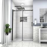 "JUNTOSO Shower Door 48"" W X 76""H Semi-Frameless Shower Door Tempered Glass in Black   Wayfair DDHRB6A21-48MB"