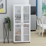 Latitude Run® 2-Door 5 Shelf Bookcase w/ Tempered Glass Door Wood in Brown/Green/White, Size 72.3 H x 31.5 W x 15.4 D in | Wayfair