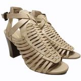 American Eagle Outfitters Shoes | A.E.O. Strappy Heeled Peep Toe Bootie Sandals 8 | Color: Cream/Tan | Size: 8