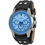 Blue Glass Chronograph Black Leather Strap Watch - Blue - Fossil Watches