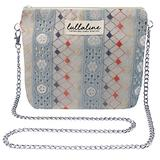 """Abstract Lace Pochette Bag - Blue L8"""" x H10"""" x CHAIN STRAP 45"""" with ZIP CLOSURE, Daily Use for Every Occasions Crossbody Shoulder Makeup Cosmetic Wallet Purse Bag with Detachable Chain Strap"""
