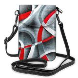 Black Red White Swirls Printed Cell Phone Purse, Small Crossbody Shoulder Bag Cell Phone Wallet Purse For Women Teen Girls