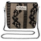 """Shower Orchid Lace Pochette Bag - Black L8"""" x H10"""" x CHAIN STRAP 45"""" with ZIP CLOSURE, Daily Use for Every Occasions Crossbody Shoulder Makeup Cosmetic Wallet Purse Bag with Detachable Chain Strap"""