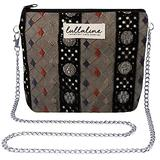"""Abstract Lace Pochette Bag - Black L8"""" x H10"""" x CHAIN STRAP 45"""" with ZIP CLOSURE, Daily Use for Every Occasions Crossbody Shoulder Makeup Cosmetic Wallet Purse Bag with Detachable Chain Strap"""