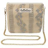 """Shower Orchid Lace Pochette Bag - Blue L8"""" x H10"""" x CHAIN STRAP 45"""" with ZIP CLOSURE, Daily Use for Every Occasions Crossbody Shoulder Makeup Cosmetic Wallet Purse Bag with Detachable Chain Strap"""