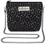 """Jasmine Lace Pochette Bag - Black L8"""" x H10"""" x CHAIN STRAP 45"""" with ZIP CLOSURE, Daily Use for Every Occasions Crossbody Shoulder Makeup Cosmetic Wallet Purse Bag with Detachable Chain Strap"""