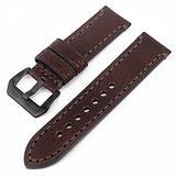 Watch Bands Cowhide Genuine Leather Wristwatch Straps Watch Parts Leather Watch Bands Straps For Men Women Watch Accessories 20mm 22mm 24mm 26mm Black Brown Red Green (Brown & Black Buckle, 24mm)