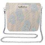 """Sesbania Lace Pochette Bag - Blue L8"""" x H10"""" x CHAIN STRAP 45"""" with ZIP CLOSURE, Daily Use for Every Occasions Crossbody Shoulder Makeup Cosmetic Wallet Purse Bag with Detachable Chain Strap"""