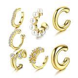YADOCA 7 Pcs Cuff Earrings for Women Cubic Zirconia Pearl No Piercing Cartilage Earring Clip On Cartilage Ear Cuffs for Non Pierced Ears Gold-tone