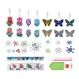 Butterfly Flower DIY Diamond Painting Keychain Kit Round 5D Full Crystal Rhinestone Decorative Accessories for Arts Crafting Phone Bag Purse Phone Decoration