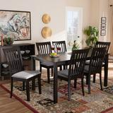 Canora Grey Servantes Solid Oak Dining SetWood/Upholstered Chairs in Gray, Size 29.13 H x 59.06 W x 35.43 D in | Wayfair