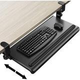 """Inbox Zero Keyboard Tray Under Desk 27.6"""" X 12.2"""" Rolling Computer Desk w/ Gel Wrist Rest in Black, Size 4.0 H x 12.0 W x 30.0 D in   Wayfair"""