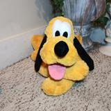 Disney Toys | Euc Disney Parks Large Chenille Stuffed Pluto | Color: Black/Gold | Size: 30 Inches From Tip Of Nose To End Of Tail
