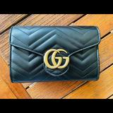 Gucci Bags | Gg Marmont Matelasse Mini Wallet On Chain | Color: Black | Size: Wallet On Chain