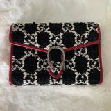 Gucci Bags | Gucci Gg Tweed Mini Bagwallet On A Chain | Color: Black/Red | Size: Os