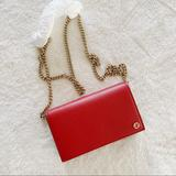 Gucci Bags | Nwt Authentic Gucci Pebble Leather Wallet On Chain | Color: Gold/Red | Size: Os