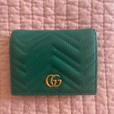 Gucci Bags | Gucci Gg Marmont Card Case Wallet | Color: Green | Size: Approx Length 4.3; Height 3.3; Width 1.0