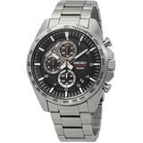 Chronograph Black Dial Stainless Steel Mens Watch - Metallic - Seiko Watches