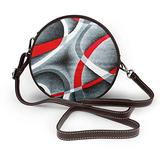 Small Cross Body Bag Black Red White Swirls Printed Purse With Chain Strap For Women, Fashion Circle Cellphone Round Purse