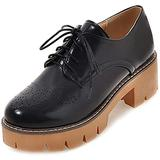 Womens Lace Up Flat Oxfords Shoes Round Toe Wingtip Perforated Low Heel Vintage Saddle Oxford Brogues Black