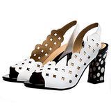 Caradise Womens Polka Dot Peep Toe Slingback Pumps Closed Toe Chunky Heels Size 4.5 B(M) US,White
